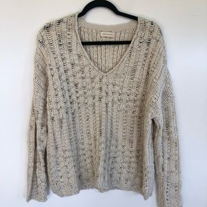 Urban Outfitters Chucky Knit V-Neck Cream Sweater